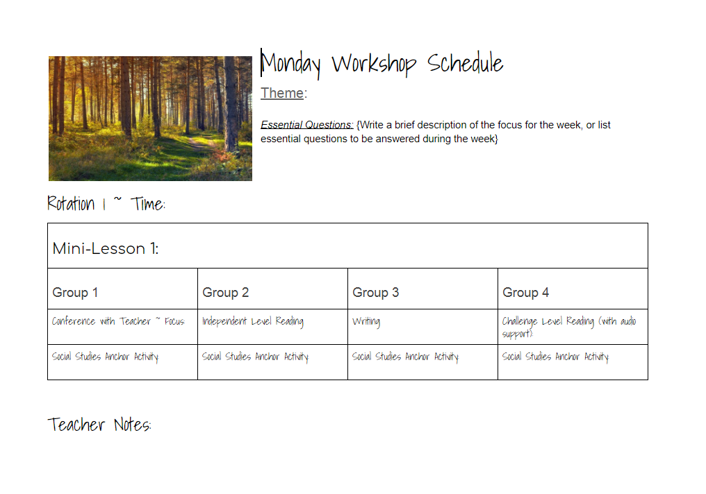 Secondary Workshop Planner FREE allkidscanlearn.school.blog